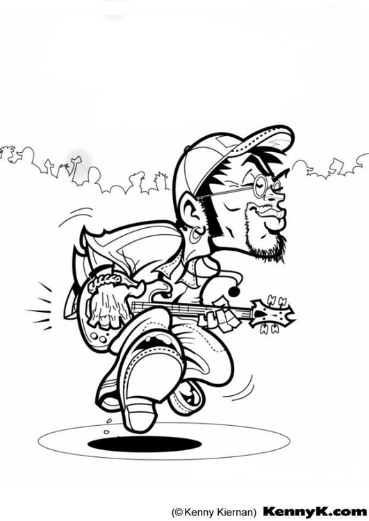 Coloring page bass player