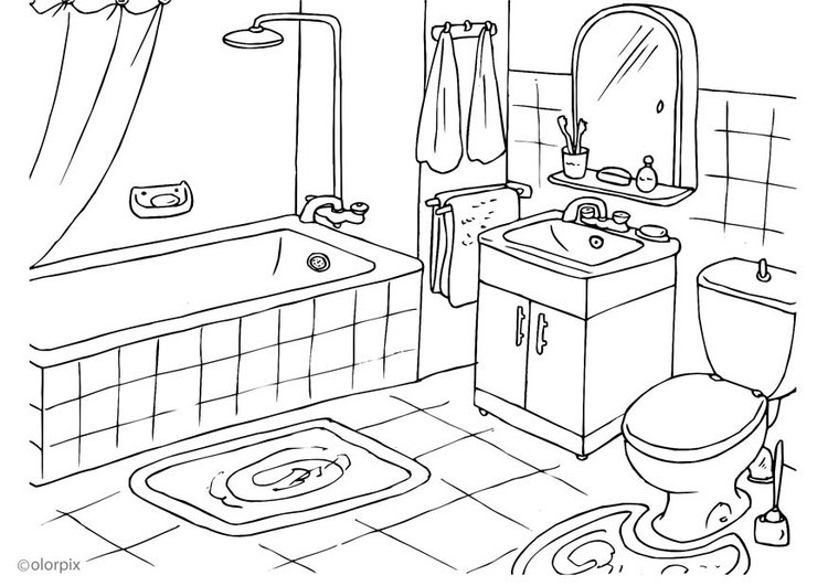 Coloring page bathroom