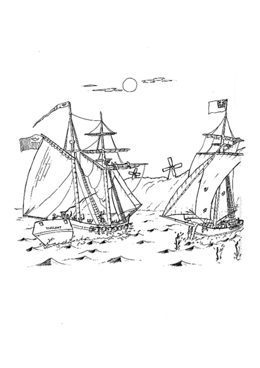 Coloring page battle at sea