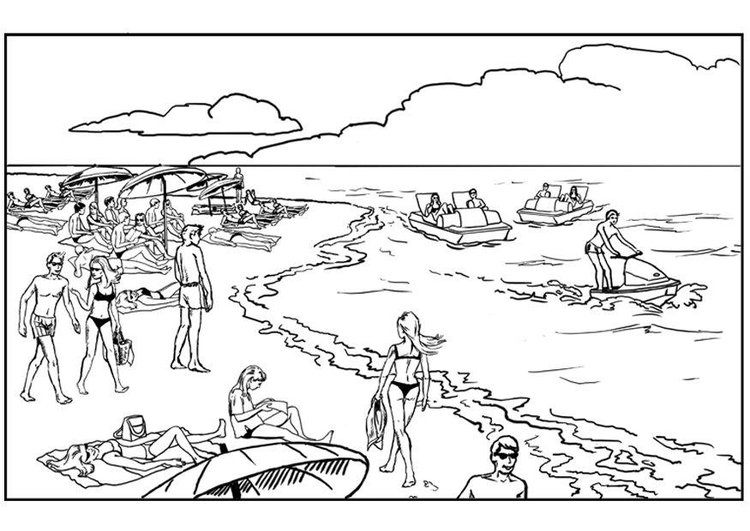 Coloring page beach and ocean