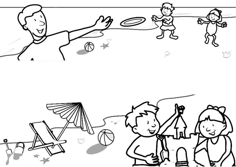 Coloring page beach fun