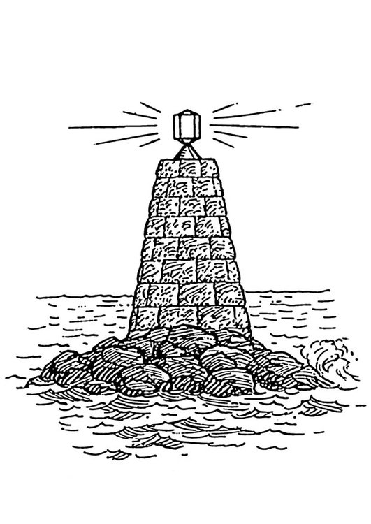Coloring page beacon at sea