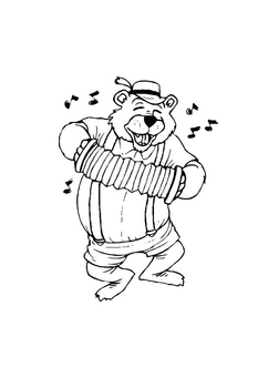 Coloring page bear with accordion