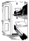 Coloring page bed - cabin in ship