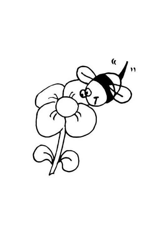Coloring page bee and flower