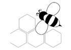 Coloring page bee - back
