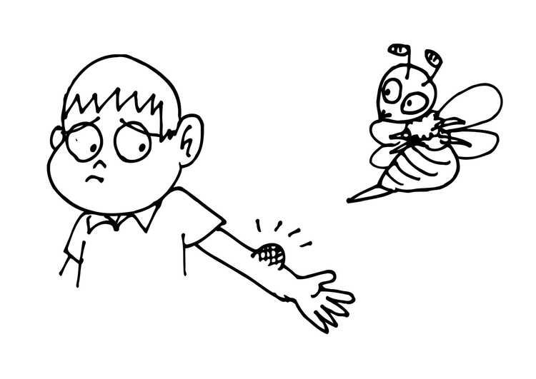 Coloring page bee sting