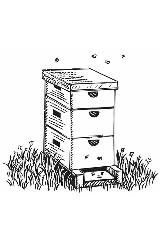 Coloring page beehive