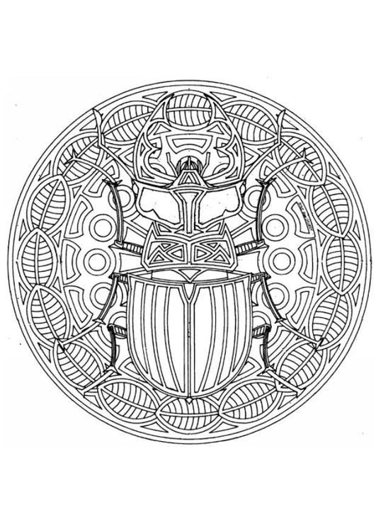 Coloring Page Beetle Mandala