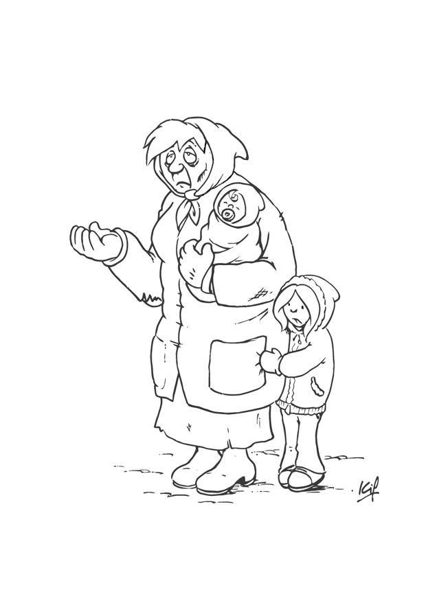 coloring page beggar with child img 26983