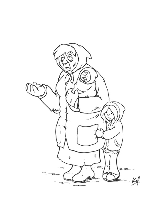 Coloring page beggar with child