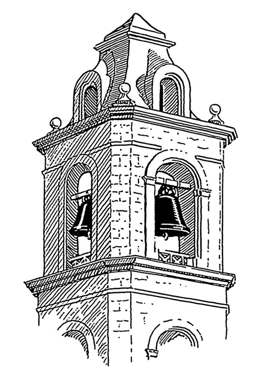 Coloring page bell tower - belfry