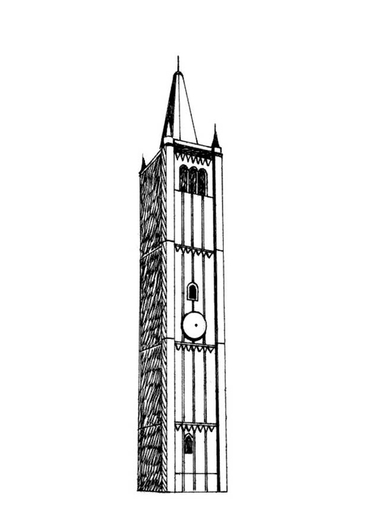 Coloring page bell tower