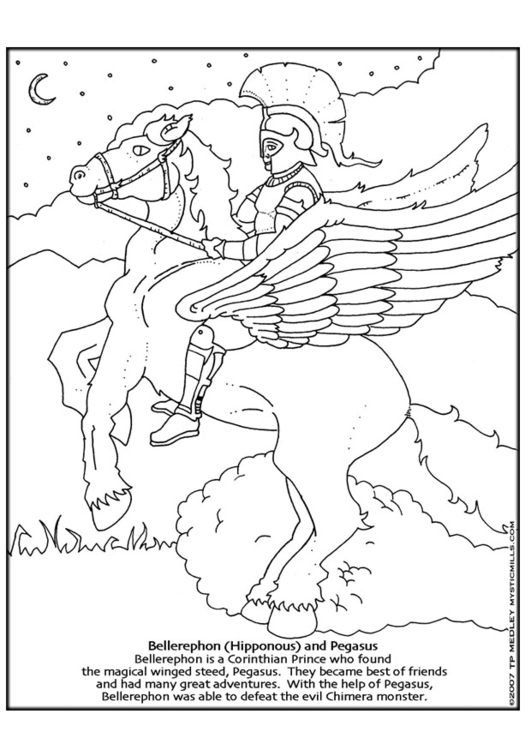 Coloring page Bellerephon and Pegasus