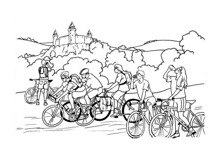 Coloring page bicycling