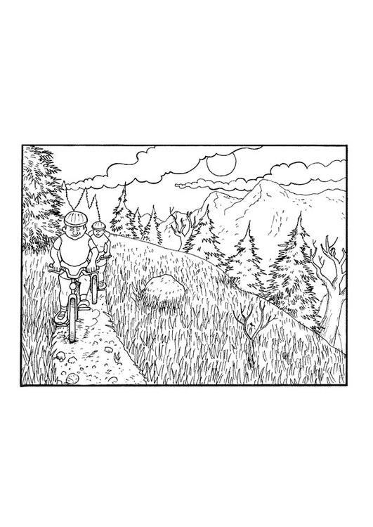 Coloring page bike ride