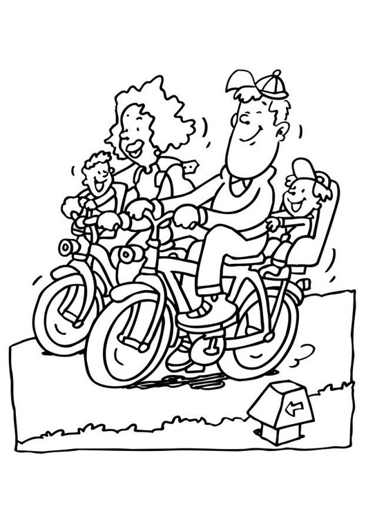 Coloring page biking