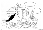 Coloring pages bird in restaurant