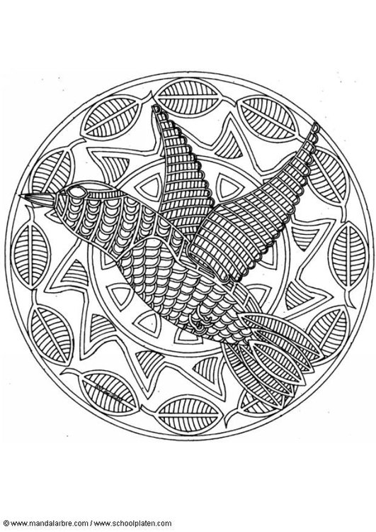 Coloring page bird mandala
