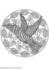 Coloring pages bird mandala