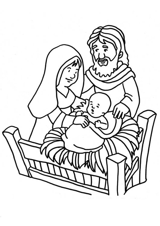 Coloring page Birth of Jesus