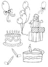 Coloring pages birthday attributes