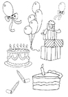 Coloring page birthday attributes