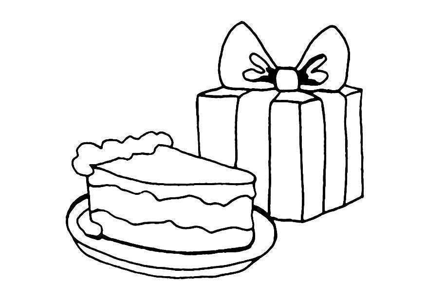 Coloring page birthday cake and present