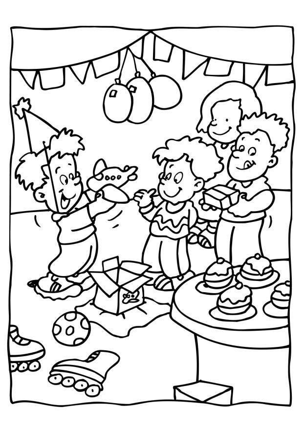 Coloring page birthday party - img 6560.
