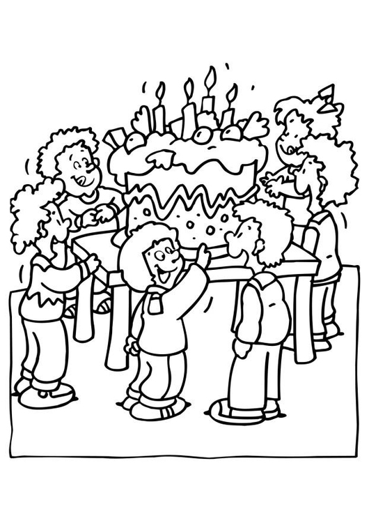 Coloring page birthday party - img 6561.