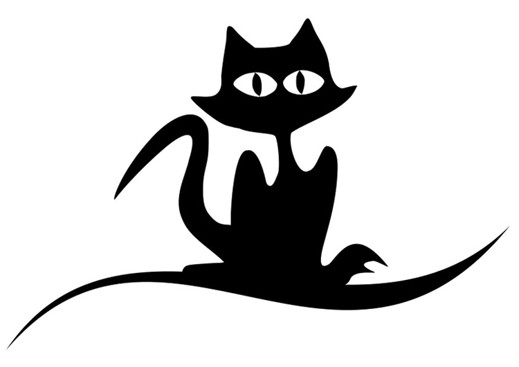 coloring page black cat - Halloween Black Cat Coloring Pages