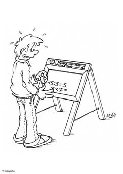 Coloring page blackboard with numbers