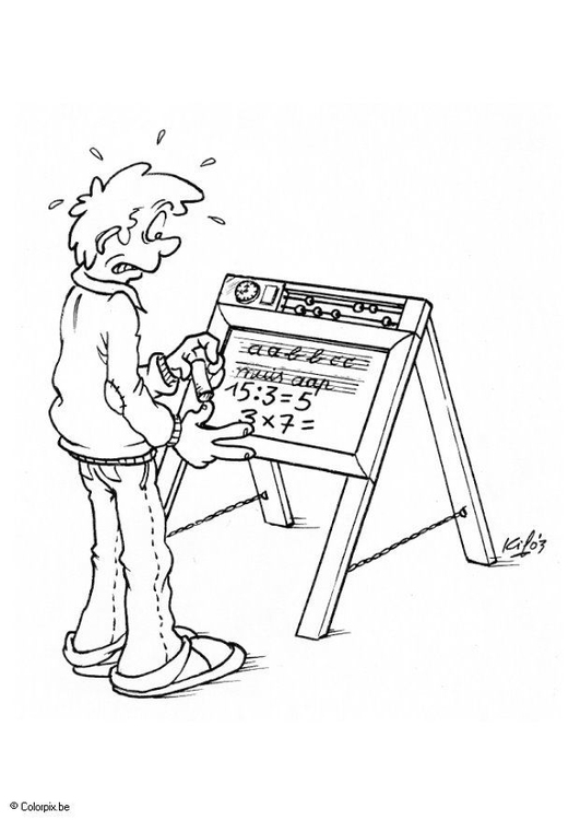 Coloring page blackboard with text and numbers