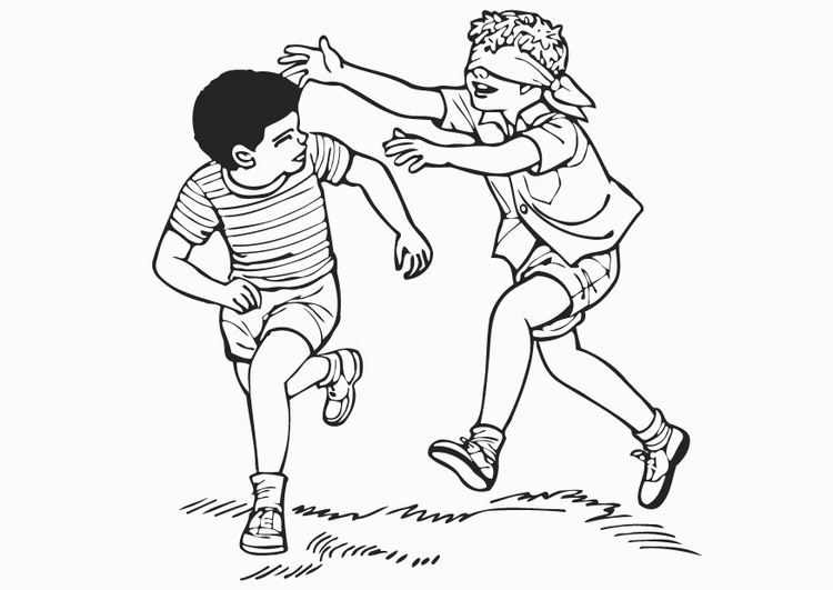 Coloring page blindfold, catch