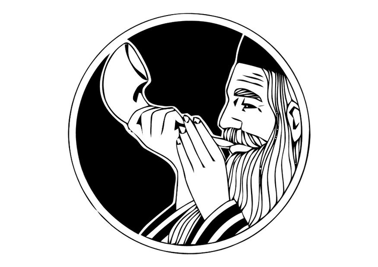 Coloring page blowing on shofar