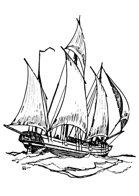 Coloring page boat - lugger