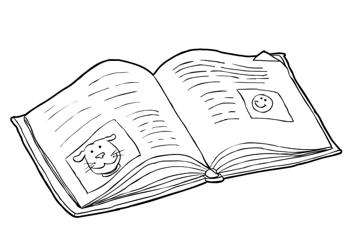 Book reading coloring page - Download Large Image