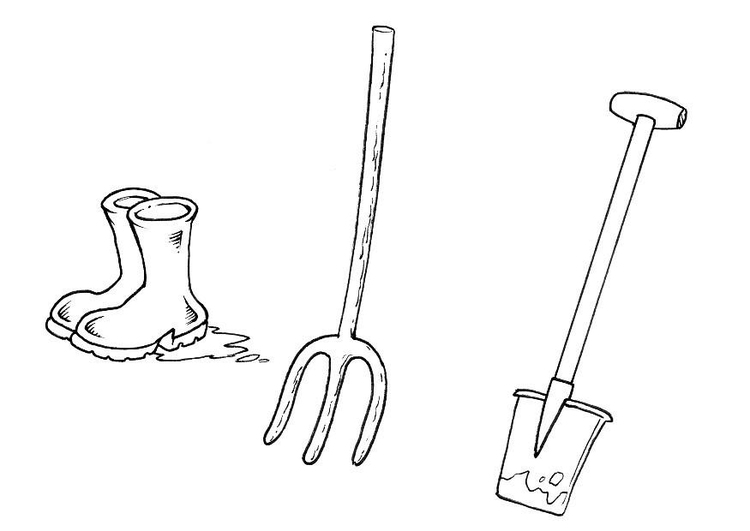 Coloring page boots shovel pitchfork