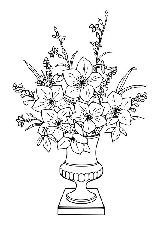 Mazzo Di Fiori Immagini Da Colorare.Coloring Page Bouquet Of Lillies Free Printable Coloring Pages