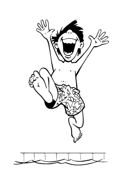 Coloring page boy at the swimming pool