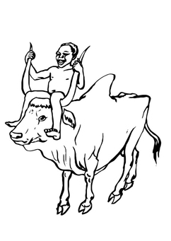 Coloring page boy on cow