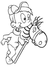 Coloring page boy on hobby horse