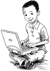 Coloring pages boy on the laptop
