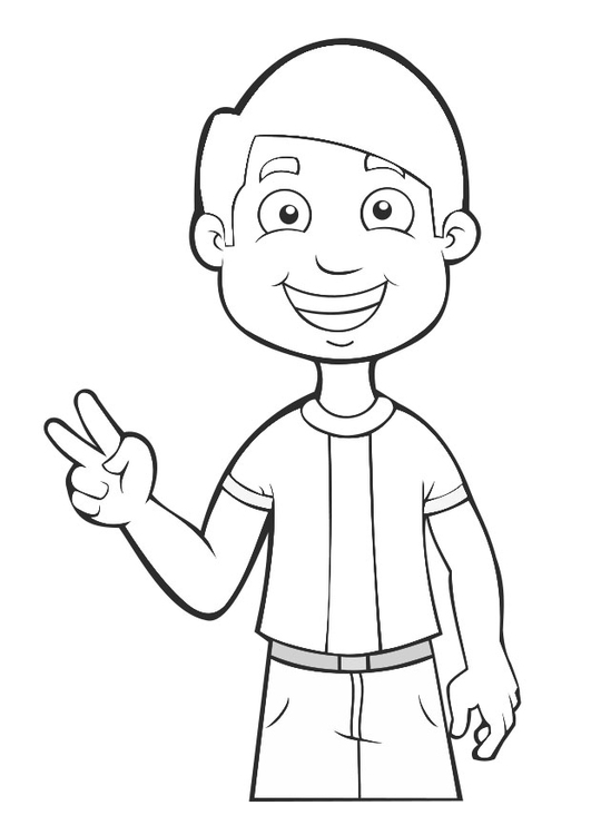 Coloring page boy - peace - img 27477.