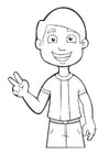 Coloring pages boy - peace