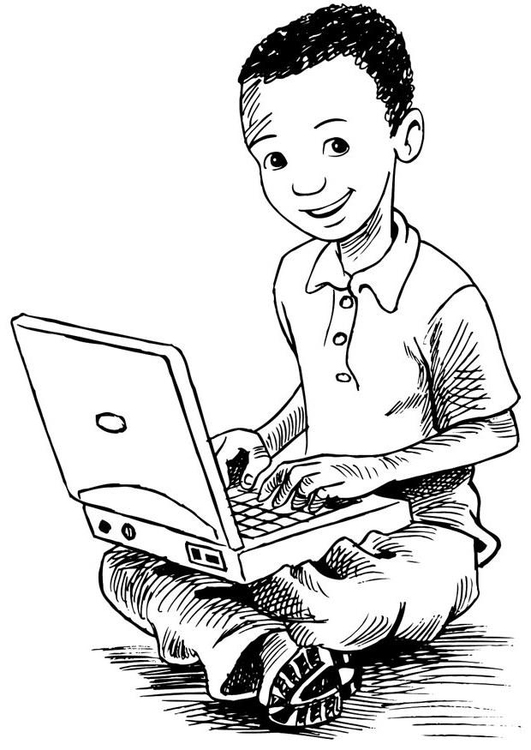 Coloring page boy with a laptop
