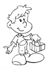 Coloring page boy with gift