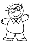 Coloring page boy with glasses