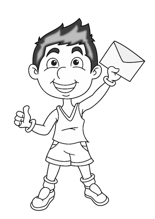 Coloring page boy with letter