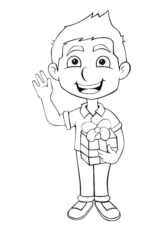 Coloring page boy with present